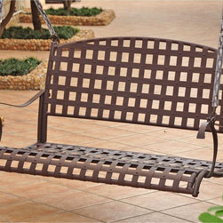 International Caravan - International Caravan Sante Fe Nailhead Swing - This handsome steel swing features a beautiful lattice design that will add a sophisticated look to your porch or garden. The swing is wide enough to provide comfortable seating for up to two adults at one time and looks great even when no one is in it.