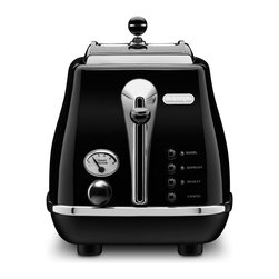 DeLonghi - Icona 2 Slice Toaster - DeLonghi's CTH2003BK Icona 2-Slice Toaster, in black, features a unique, High-Gloss finish with chrome details for a stylish look. Four Push-Button functions with neon indicators (bagel, defrost, reheat and cancel) and the progressive, electronic browning control let you toast to perfection. The extra lift position allows for easy removal of small slices. Plus, the removable crumb tray slides out easily to make cleaning a breeze.2-Slice toaster features unique, High-Gloss finish with chrome details.
