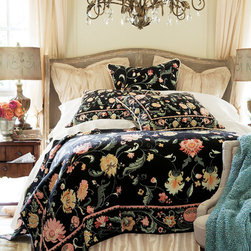 Belgique Tapestry Coverlet - Traditional Belgian tapestry patterns have inspired artisans for centuries. Here, an earthy Jacobean pattern in shades of coral, jade, rose, mint and gold play on a rich field of midnight black. Unlined coverlet is woven of soft cotton yarn. Coverlet is generously sized to adapt to deeper mattresses.