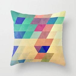 Pixel Diamond Pillow Cover - Muted colors work to create an ultramodern geometric pattern in the Pixel Diamond Pillow Cover. Made of 100% polyester poplin, each double-sided pillow cover has been individually cut and sewn by hand. A concealed zipper makes the pillow cover easy to clean.