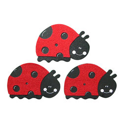 "Little Elephant Company - Felted Ladybug Quilt Clips set of 3 - Beautiful quilt clips that transform your treasured baby quilts and comforters into charming hanging artwork for your child's room.    Very easy to use.  ***    The set is three (3) adorable ladybugs on parade in red and black.     Each ladybug measures 3 in. x 4.25 in. These shapes are a painted wood layered with a soft felt.    These quilt clips are perfect for garden themed girl bedding sets.    How many quilt clips do I need?  - For a quilt that is still stiff and new, you will only need 2 quilt clips for up to 36 inches wide. Many people will do 3 quilt clips just for the look, though. For a quilt that has been washed and is pliable, 2 clips will be sufficient for up to 36 inches, but you may want 3 clips to help keep the center from sagging. For a quilt 36 to 42 inches wide, use 3 to 4 clips. For a quilt 42 to 50 inches, use 4 to 5 clips.    How do the quilt clips work?  - The only hardware is needed is a long nail, approximately 1 1/2"" to 2 1/2"" in length.  - Measure how far apart you would like the clips to be.  - Decide how high on the wall they will be placed and mark your first spot. Using a level, measure out and mark the second spot.  - Place your nails into the wall at a 45 degree angle. IMPORTANT: If your nail is not at a 45 degree angle, the clip may slip off the nail.  - Clip the quilt and slide the back of the clip over the nail.    What are the clips made of?  - Designs are made of layered wood. A few of our designs also have layered felt.   - Clips on the back are a sturdy plastic so as not to damage your fabric."