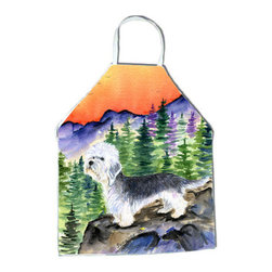Caroline's Treasures - Dandie Dinmont Terrier Apron SS8222APRON - Apron, Bib Style, 27 in H x 31 in W; 100 percent  Ultra Spun Poly, White, braided nylon tie straps, sewn cloth neckband. These bib style aprons are not just for cooking - they are also great for cleaning, gardening, art projects, and other activities, too!