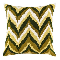 "Surya - Surya 18 x 18 Decorative Pillow, Greens and Whites (AR052-1818P) - Surya AR052-1818P 18"" x 18"" Decorative Pillow, Greens and Whites"