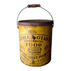 """Used Vintage Farmhouse Seed Corn Bucket - """"More eggs and bigger eggs"""", """"More milk and richer milk""""... Farmhouse metal bucket with lid and handle with wood grip. Little Giant Stock & Poultry Food, Newark N.J. P.O.B. 335. Fantastic graphics include horse, cow, pig, sheep and a rooster. """"Seed Corn"""" handwritten on lid. Sealed, cleaned and ready to use."""