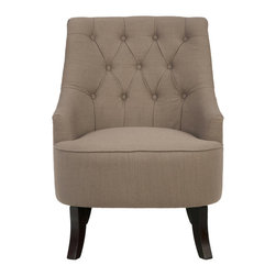 Jofran - Stella Upholstered Accent Chair with Button Tufted Back, Earth - Like each accent chair within this collection, the Stella exudes elegance at an affordable price point. At first glance the design looks traditional with a touch of cottage charm, but a closer examination reveals that this chair would be equally at home in a transitional room. The staples of this accent chair's design include a tight seat cushion for a look that's always tailored and button tufted accents across the seat back. The low-set arms make this chair ideal for women or those with smaller frames. Their downward slant is not only attractive but also makes fine accompaniment for those who like to keep their hands busy while they sit, reading, writing, knitting or crocheting.