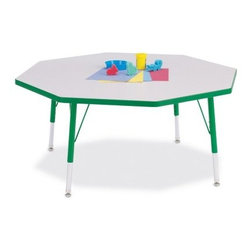 Jonti-Craft Rainbow Accents Octagon Activity Table - The Jonti-Craft Rainbow Accents Kids Octagon Activity Table will fit plenty of children for crafts coloring or meal time. Finished in a freckled gray laminate with your color choice edgebanding. Thermo-fused edge banding means less germs and more strength. Includes extra-safe dual-screw leg adjustability system and nylon-based swivel glides. Legs mount quickly for minimal assembly. The table measures 48L x 48W inches and comes in two height options both of which feature adjustable legs: Table height adjusts 15 to 24 inches which would serve chairs with seat heights of 8 to 14 inches perfect for age 2 until about first grade. Table height adjusts 24 to 31 inches which would serve seat heights of 14 to 18 inches perfect for kids grade 1 and up. See seat options below.