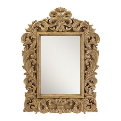 French Heritage - Gervais Mirror, Driftwood Cream - A wall mirror as ornamental as it is functional, abundantly framed in acanthus leaves and shamelessly raw wood finish. - Weight: 95lbs