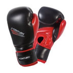 Century Drive Black/Red Boxing Gloves - The Century Drive Black/Red Boxing Gloves gives you a stylish, sturdy option to take with you to the gym, the ring, or your home heavy bag. The gloves are thickly padded and feature an attached-thumb design for safety and proper thumb-placement. Durable, black polyurethane covers the gloves with red accents. A mesh palm lets your hands breathe and increase your dexterity. Velcro wrist straps secure the gloves to your hands. Small, medium, and large size pairs are available.About Century LLCCentury's core belief is that martial arts can profoundly impact people's lives, and they want everyone to reap the lifetime benefits. In 1976, Century began by creating martial arts products, and has grown to become the largest supplier of martial arts products in the world. When the company moved to Midwest City, Oklahoma, in 1982, the original building provided 50,000 square feet to help the founders achieve their mission. Since then, the company has expanded to a 650,000 square foot facility, and also broadened its product offering to include yoga, boxing, MMA gear, and physical fitness equipment.