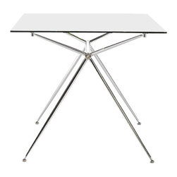 """Eurostyle - Eurostyle Atos 60"""" Rectangular Desk in Clear Glass and Chrome - Euro style -Computer Desks -02290A02290GKIT -A completely modern take on � basics Atos combines a delicate appearance with a solid base made of chromed steel. The tempered glass top is available in widths of 5_�� or 5.5 feet depending on how much work you have to do!"""
