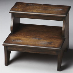Butler - Masterpiece 18 in. Step Stool - Traditional style. Made from select hardwood solids. Praline finish. 18 in. W x 16 in. D x 15 in. H (39 lbs.)Beyond the bedroom, use this step to reach the top shelves of your kitchen cabinets, or in the office near a tall bookcase. This collection is, above all, eclectic, offering a wide range of styles designed to provide bright accents for traditional to contemporary decors.