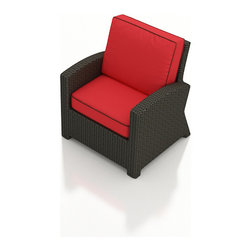 Forever Patio - Barbados Modern Outdoor Club Chair, Flagship Ruby Cushions - Enjoy outdoor seating for 1 with the modern look and luxurious comfort of the Forever Patio Barbados Wicker Outdoor Club Chair with Red Sunbrella cushions (SKU FP-BAR-CC-EB-FB). The UV-protected, ebony-colored resin wicker sports a flat woven design, creating a contemporary look with clean lines. Each strand of this outdoor wicker is made from High-Density Polyethylene (HDPE) and is infused with its rich color and UV-inhibitors that prevent cracking, chipping and fading ordinarily caused by sunlight. This outdoor club chair is supported by thick-gauged, powder-coated aluminum frames that make it more durable than natural rattan. This chair includes fade- and mildew-resistant Sunbrella cushions, adding comfort to your outdoor space.