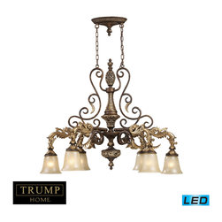 Elk Lighting - Elk Lighting Regency Chandelier with Burnt Bronze X-DEL-6/1612 - Inspired By The Scrolling Design Of The Trump Family Crest, Regency Creates A Rich And Regal Ambiance.  The Solid Cast Iron Scrolls And Burnt Bronze Finish Compliments The Delicate Weathered Gold Leaf Accents And Caramel Amber Glass To Create A Dramatic And Stunning Collection. - LED, 800 Lumens (4800 Lumens Total) With Full Scale Dimming Range, 60 Watt (360 Watt Total)Equivalent , 120V Replaceable LED Bulb Included