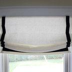 Custom Window Treatments by Lynn Chalk - Casual Roman Shades in Kravet Linen 32344-1 with Samuel and Sons Navy 977-44932 Grosgrain Ribbon