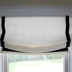 Custom Window Treatments by Lynn Chalk - Casual Roman Shades in Kravet Linen 32344-1 with Samuel and Sons Navy 977-44932 Grosgrain Ribbon