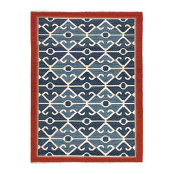 "Jaipur Rugs - Flat Weave Tribal Pattern Multi Color Wool Handmade Rug - AT03, Multi, 5x8 - Anchor your room with a rug that will make the rest of your furniture shine. This modern spin on a traditional ""kilim"" looks as great against leather as light upholstery. Its intricate blue and white pattern is the perfect eclectic touch that will tie your statement accessories and antique shop finds beautifully together."