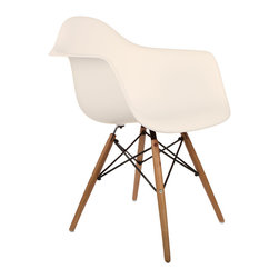 """Montmartre Arm Chair in Cream - Some designs were ahead of their time. Considered the chair of tomorrow both for its design and its innovative single-mold manufacturing process, the Montmarte Arm Chair is inspired by one of the most iconic mid-century furniture designs. Created in the spirit of economy and affordability, its unique shape was designed to spread the sitter's weight and pressure evenly. The deep seat and waterfall edge provide additional comfort as the design shapes itself around the body's curves, while its ashwood dowel legs add a classic touch. If you've done away with formality in your home, the Montmarte Arm Chair is that one piece of furniture that exemplifies the """"less is more"""" ethos. It's the ultimate seat that goes well in a variety of different settings: as a home office chair, an entryway slipper seat, or a statement piece in the living room."""