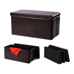Colorfulhall - Brown Foldable Storage Ottoman - Product Basic Information: