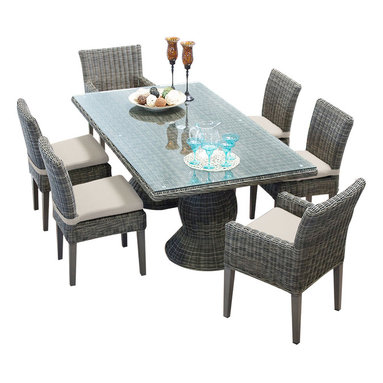 TKC - Royal Vintage Stone Rectangular Outdoor Patio Dining Table With 6 Chairs - Our Royal Dining Collection offers generous proportions for ultra-comfortable outdoor dining. The gently curved pedestal base adds sophistication and elegance to your outdoor dining. Sturdy powder coated aluminum frames are concealed from sight. Dining tables are topped with tempered glass.