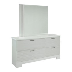 Standard Furniture - Standard Furniture Action 4-Drawer Dresser with Mirror in White - A combination of smooth and textured white surfaces on clean square profiles creates actions distinctive modern look.