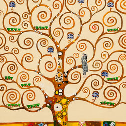 overstockArt.com - Klimt - Tree of Life - Hand painted oil reproduction of a famous Klimt painting, Tree of Life. The original masterpiece was created in 1909. Today it has been carefully recreated detail-by-detail, color-by-color to near perfection. Gustav Klimt (1862-1918) was one of the most innovative and controversial artists of the early twentieth century. Influenced by European avant-garde movements represented in the annual Secession exhibitions, Klimt's mature style combines richly decorative surface patterning with complex symbolism and allegory, often with overtly erotic content. This work of art has the same emotions and beauty as the original. Why not grace your home with this reproduced masterpiece? It is sure to bring many admirers!