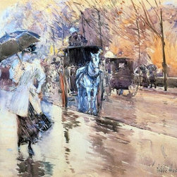 "Frederick Childe Hassam Rainy Day on Fifth Avenue   Print - 16"" x 24"" Frederick Childe Hassam Rainy Day on Fifth Avenue premium archival print reproduced to meet museum quality standards. Our museum quality archival prints are produced using high-precision print technology for a more accurate reproduction printed on high quality, heavyweight matte presentation paper with fade-resistant, archival inks. Our progressive business model allows us to offer works of art to you at the best wholesale pricing, significantly less than art gallery prices, affordable to all. This line of artwork is produced with extra white border space (if you choose to have it framed, for your framer to work with to frame properly or utilize a larger mat and/or frame).  We present a comprehensive collection of exceptional art reproductions byFrederick Childe Hassam."