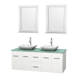 "Wyndham Collection - Centra 60"" White Double Vanity, Green Glass Top, White Carrera Marble Sinks - Simplicity and elegance combine in the perfect lines of the Centra vanity by the Wyndham Collection. If cutting-edge contemporary design is your style then the Centra vanity is for you - modern, chic and built to last a lifetime. Available with green glass, pure white man-made stone, ivory marble or white carrera marble counters, with stunning vessel or undermount sink(s) and matching mirror(s). Featuring soft close door hinges, drawer glides, and meticulously finished with brushed chrome hardware. The attention to detail on this beautiful vanity is second to none."