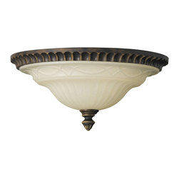 Murray Feiss - Murray Feiss Drawing Room Flush Mount Ceiling Fixture in Walnut - Shown in picture: Drawing Room Flush Mount in Walnut finish with Amber snow scavo glass shade