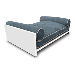 Pet Lounge Studios - White Solid wood Daybed, Berry Blue - Our  white Solid wood  Daybed is our most transitional and luxurious design. Fit for the little kings and queens of the world! It is a true piece of furniture and will add warmth to the finest home interiors. It is created with rich, solid wood and contains shreded  orthopedic memory foam  along with two bolster pillows so your furry family member can comfortably rest their head over the side. The removable and washable cushion cover uses the highest quality ultra-suede fabric which is inherently stain resistant.