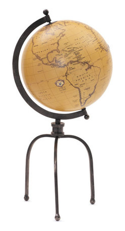 Go Home - Wrought Iron Globe on Tripod Stand - Nothing is more of a classic and timeless decor staple than a globe, and this particular globe is magnificent.  Made of wrought iron with a black nickel finish, this elegant piece will keep your home in style for decades to come.