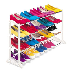 Lynk - 20 Pair Shoe Rack - Wide base provides stability even on thick carpets. Locks together in seconds. Can buy 2 or 3. Stack them on top of each other & interlock for more shoe storage. Patented. Made from steel and polymer. Made in USA. 35.4 in. W x 10 in. D x 20.1 in. H (3.21 lbs.). Assembly InstructionLynk products offer great storage solutions for the kitchen, pantry, closet, laundry, bath and garage.