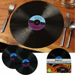 Vinyl Record Dinner Placemats - I'm guessing that if you're buying record placemats, they would match a ridiculous amount of music-themed decor already existing in your home.