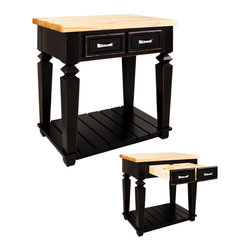 "Hardware Resources - Lyn Design ISL10 Kitchen Island, Aged Black - This 33-15/16"" x 22-1/6"" x 34-1/4"" table style island with open shelf is manufactured using the highest quality furniture grade hardwoods and MDF. The island features two deep working drawers on one side and a false front on the reverse. Drawers are dovetail solid hardwood and are mounted on undermount full extension soft close slides. Decorative hardware is included with this item. Coordinating post, P34, is available in our carved wood collection. Aged Black finish is applied by hand. 1-3/4"" hard maple edge grain butcher block top sold separately, (ISL10-TOP - 36"" x 24"")"