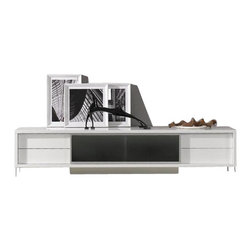 VIG Furniture - Brighton Mini White Lacquer Entertainment Center - The Brighton Mini entertainment center works with any decor and will have you watching your favorite show in modern luxury. The entertainment unit is crafted with a wooden frame construction that is finished in a high gloss white lacquer. The unit features a center glass console with a sliding door for your entertainment devices as well as storage drawers on each end. Attached to the bottom are polished steel legs that add to the overall look.