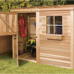 Cedar Shed - Cedar Shed 8 x 4 ft. Bayside Wood Storage Shed Multicolor - B84 - Shop for Sheds and Storage from Hayneedle.com! Additional features: Complete with one year limited manufacturer's warranty Non-functional window measures 16.25W x 25.25H inches Cedar Dutch door measures 36W x 71H inches Door can be placed on any side Assembly is easy with all necessary tools even the bit included Wood arrives pre-cut and ready to build Cedar features natural oils that preserve wood and resist insect damage When the season's change head for the Cedar Shed 8 x 4 Ft. Bayside Wood Storage Shed. For the sleds in the winter or the sun chairs in the summer this rectangular shed keeps all your outdoor valuables safe and dry all year long. Ideal for small yards or narrow spaces. Ships complete with all the necessary tools for easy comprehensive assembly.For your convenience liftgate service is included with this purchase. This means that upon delivery the carrier will use a liftgate on the truck to lower your item to the ground. You will then need a dolly or handtruck or assistance with the product from that point on. Many retailers charge for this service of getting the package off the truck or require the customer to do it themselves.About Cedar Shed IndustriesSince 1980 Cedar Shed has grown to be one of the largest specialty cedar product manufacturers in the world. They offer top quality products like gazebos sheds and outdoor furniture all made from high-quality Western Red Cedar. Over the years Cedar Shed has grown developed and matured to the point where they are now shipping thousands of gazebos and garden sheds every year to customers around the world. Why Western Red Cedar?The supremacy of Western Red Cedar as an all-weather building material is entirely natural. Along with its beauty stability and endurance Western Red Cedar contains natural oils that act as preservatives to help the wood resist insect attack and decay. Properly finished and maintained Western Red Cedar