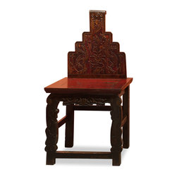 China Furniture and Arts - Antique Elmwood Chair - A one of a kind Elmwood chair inspired by the style developed in the Ming Dynasty (1368-1644). The back of the chair and legs are uniquely decorated with intricately hand-carved floral designs. A piece that will accent any room from contemporary to traditional. It is constructed using traditional joinery techniques, which provides long lasting durability. Distressed red finish.