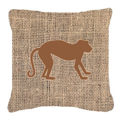 Caroline's Treasures - Monkey Burlap and Brown Fabric Decorative Pillow Bb1128 - Indoor or Outdoor Pillow from heavyweight Canvas. Has the feel of Sunbrella Fabric. 18 inch x 18 inch 100% Polyester Fabric pillow Sham with pillow form. This pillow is made from our new canvas type fabric can be used Indoor or outdoor. Fade resistant, stain resistant and Machine washable..