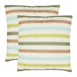 Safavieh - Safavieh Bleeker Pillow (2) X-2TES-8181-A458LIP - Safavieh puts a contemporary spin on the art of knitting with a series of striped accent pillows in three unique colorways:  Breezy Blue-green/cream: Nautical Red and Savanna Brown.  Like a comfy pullover sweater, the pillow's knitted cover is layered over a 100%polyester base.