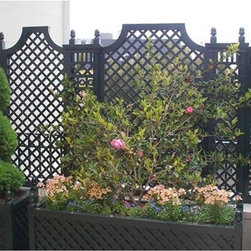 Outdoor Wood Privacy Trellis - Outdoor wooden privacy trellis or fence.