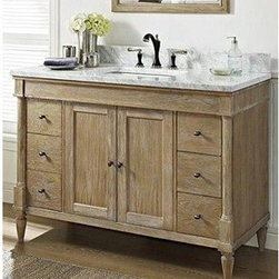 "Fairmont Designs - Fairmont Designs Rustic Chic 48"" Vanity - Weathered Oak - Designed to flaunt the beauty of its wood, Rustic Chic invites you to bring a touch of texture to your bath. The earth-bound, organic look derives its appeal from clean lines and tactile Weathered Oak veneers, accented with subtle brass finished knobs. A variety of cabinet sizes and configurations allows you to customize your space...naturally. Fairmont Designs is described in two words; quality and beauty. Express your creativity with Fairmont Designs bathroom vanities and bath furniture ensembles. The distinctive families of bath furniture from Fairmont Designs come in styles for every bath. Artistry and elegance are delivered in carefully constructed products built with sustainable materials and sturdy craftsmanship. From petite corner solutions to traditional sized pieces, Fairmont Designs is your choice for exquisite and timeless beauty.Features: Materials: White Oak Veneers with White Oak Solids Hinges: Fully concealed, soft closing Doors: 2 Hardware: Brass Shelf: 1 (adjustable) Drawers: 6 Drawer Box: 1/2"" solid pine, four-sided English dovetail Glides: Soft closing Dimension: 48""w x 21-1/2""D x 34-1/2""H (not including counter) How to handle your counter View Spec Sheet"
