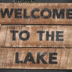 "Adventure Marketing - Welcome To The Lake Sign - This sign is handcrafted by the Amish. Well made and sturdy, it can be used as a wall hanging or shelf sitter. 8"" W, 10"" H, 1"" D. Weight 2 lbs. Made in the USA!"