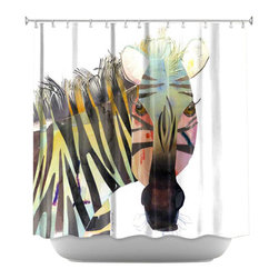 DiaNoche Designs - Shower Curtain Artistic - Zebra - DiaNoche Designs works with artists from around the world to bring unique, artistic products to decorate all aspects of your home.  Our designer Shower Curtains will be the talk of every guest to visit your bathroom!  Our Shower Curtains have Sewn reinforced holes for curtain rings, Shower Curtain Rings Not Included.  Dye Sublimation printing adheres the ink to the material for long life and durability. Machine Wash upon arrival for maximum softness. Made in USA.  Shower Curtain Rings Not Included.