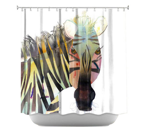 DiaNoche Designs - Shower Curtain Artistic - Zebra - DiaNoche Designs works with artists from around the world to bring unique, artistic products to decorate all aspects of your home.  Our designer Shower Curtains will be the talk of every guest to visit your bathroom!  Our Shower Curtains have Sewn reinforced holes for curtain rings, Shower Curtain Rings Not Included.  Dye Sublimation printing adheres the ink to the material for long life and durability. Machine Wash upon arrival for maximum softness on cold and dry low.  Printed in USA.