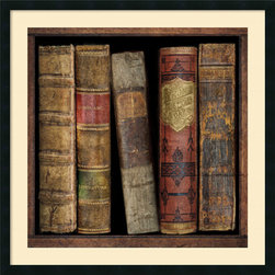 Amanti Art - Russell Brennan 'In The Library I' Framed Art Print 34 x 34-inch - These thick vintage tomes by Russell Brennan will make you believe that you are truly \'In the Library\' while adding a well-loved polish to your decor.