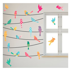 Walls Need Love - Pattern Birds On A Wire Decals - This collection of vinyl birds on a wire features myriad patterns and colors because we think life is better lived with just a splash of uniqueness. Choose one of the layouts from the product photos or come up with your own custom layout.