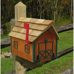 Fifthroom - Log House Mailbox - No matter where you live, this cute little Log Cabin Mailbox will make a charming addition to your home.  Like any decent log cabin, it's built in the United States, from sturdy, decay-resistant wood, so you can be sure that it will stand against the elements for years to come.  This eye-catching mailbox also makes a great gift � as long as the recipient understands that you're not responsible for any bills or bad news that may land at its door.