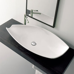 Nameeks - Nameeks | Kong Vessel Sink 8054 - Made in Italy. A part of Scarabeo by Nameek's.Add a touch of style to your luxury bathroom with the Kong Vessel Sink 8054. Part of Scarabeo Kong collection, this over the counter, bathroom sink features a striking oval shape without an overflow. Crafted from high quality porcelain, it has a faucet deck for a single hole faucet or no faucet holes for wall-mounted for vessel style faucets. Product Features: