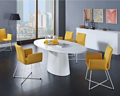 Creative Furniture - Lilou Dining Set in White and Yellow - This new and exclusive dining set offers fresh and fun designed table and chairs. One of the most popular tables by Creative Furniture, the Lilou Table comes with long oval top and sturdy center support. The table has wood veneer construction finished in Matt White. The chairs are made of steel and upholstered in yellow fabric.    The set includes Table and 6 Chairs.    Features: