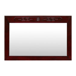 China Furniture and Arts - Rosewood Longevity Design Mirror - Beveled in rosewood frame with a single elegant Longevity symbol hand-carved on the top, our classic rectangle rosewood mirror easily fits a variety of decorating styles. To hang in the bedroom, bathroom or hallway. Mounting brassware included. Hand applied rich dark cherry finish.
