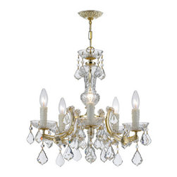 Crystorama - Crystorama 4376-GD-CL-MWP Maria Theresa 5 Light Chandeliers in Gold - For centuries, Maria Theresa style of crystal chandeliers has been a sign of wealth, style, and class. In keeping with the time honored traditions of our European artisans, Crystorama's Maria Theresa collection offers a variety of finishes and crystal combinations. Crystorama also offers our Maria Theresa collection in our very popular Golden Teak crystal.