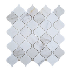 Tiles R Us - Italian Calacatta Gold Marble Honed Arabesque Mosaic Tile, 1 Sq. Ft. - - Calacatta Gold Italian Calcutta Marble Honed (Matte finish) Moroccan Lantern Arabesque Mosaic Tile.